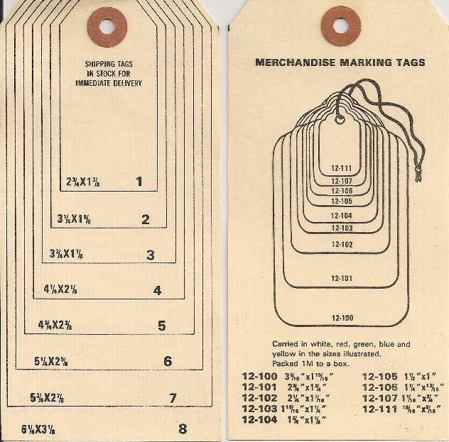 Tags Sizes Chart